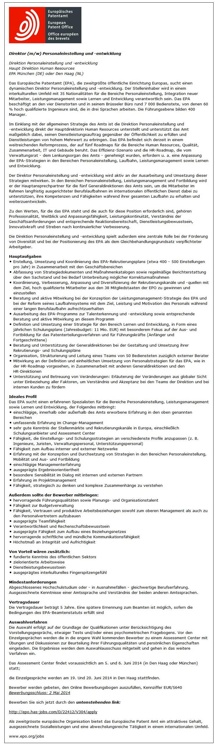 Stellenanzeige Direktor Personaleinstellung und Entwicklung des Europäischen Patentamts