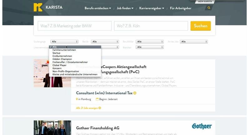 karista - detaillierte Jobsuchmöglichkeiten