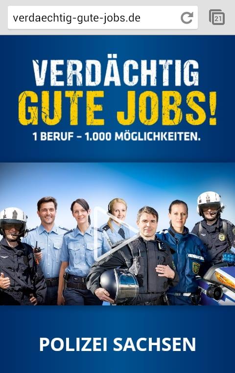 Mobile Karriereseite der Polizei Sachsen