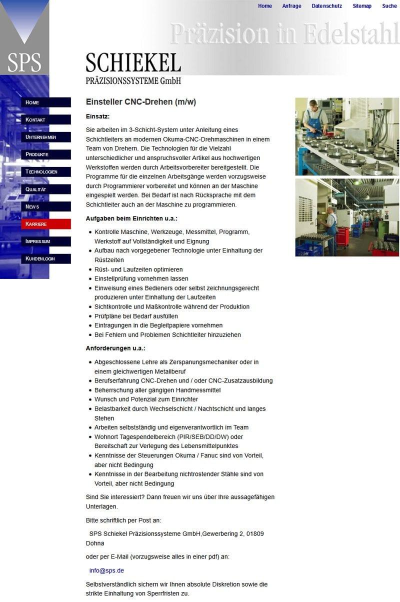 Stellenangebot Einsteller CNC-Drehen