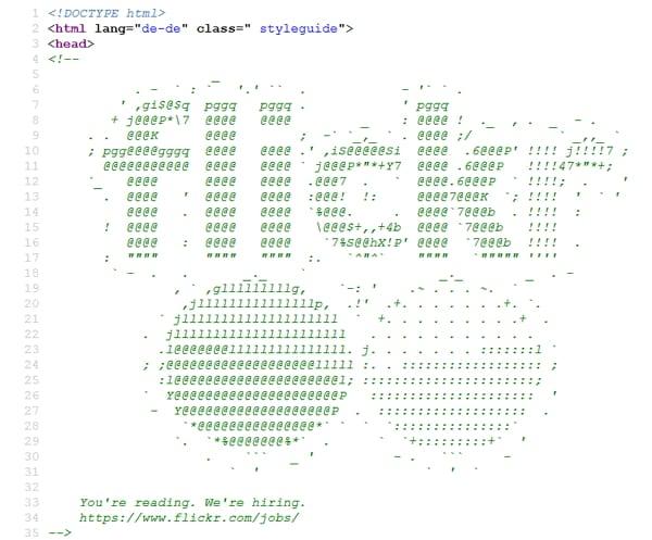 Bewerbersuche per Quellcode - Beispiel flickr