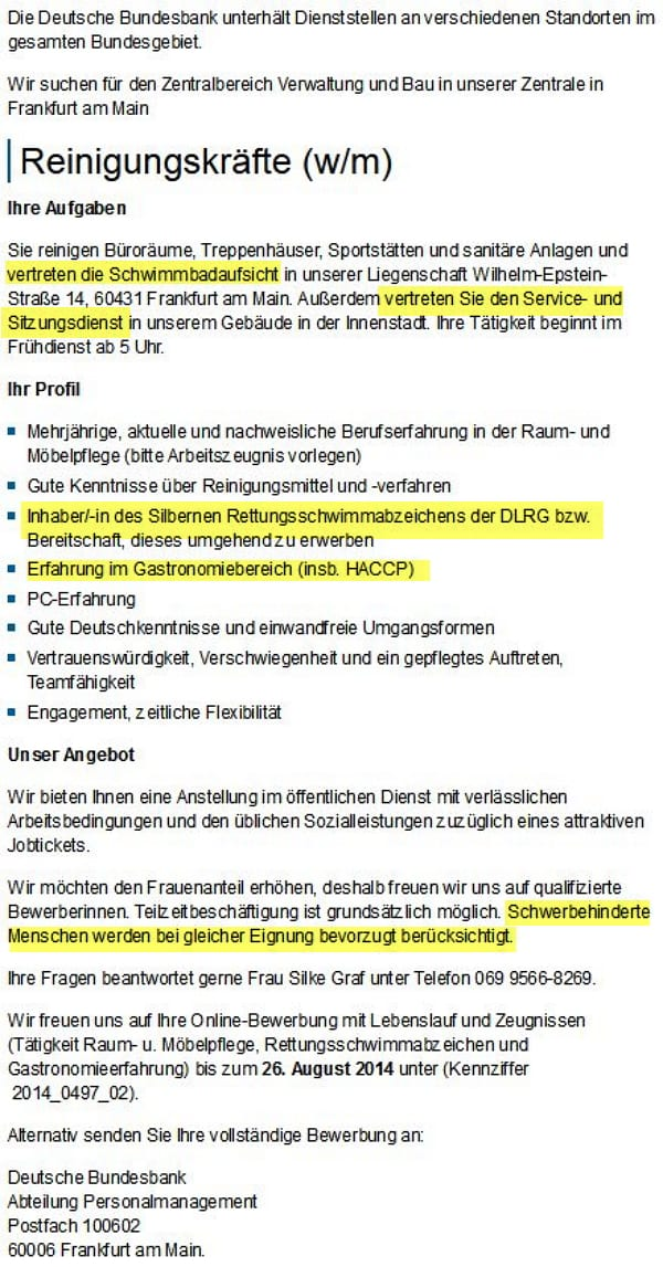 Deutsche Bundesbank sucht Reinigungskraft mit Rettungsschwimmerschein