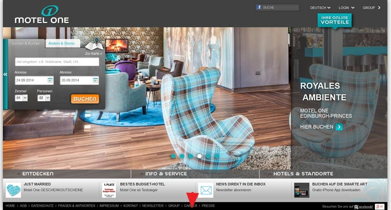 Motel One Homepage - Karriere-Button gut versteckt