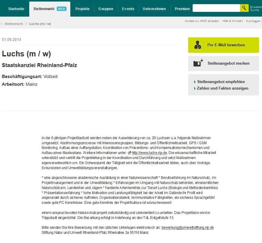 Stellenanzeige Staatskanzlei Rheinland-Pfalz sucht Luchs m_w