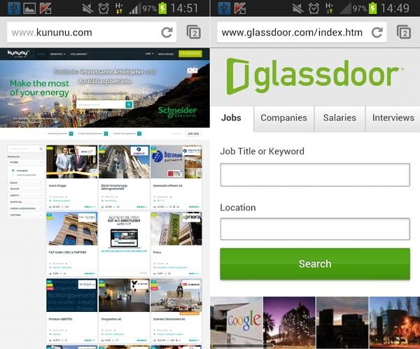 kunun vs Glassdoor - mobile bei Glassdoor schon Realtität
