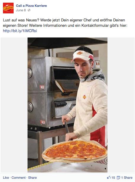 Runkelrübenverdächtig: Call a Pizza Karriere auf Facebook