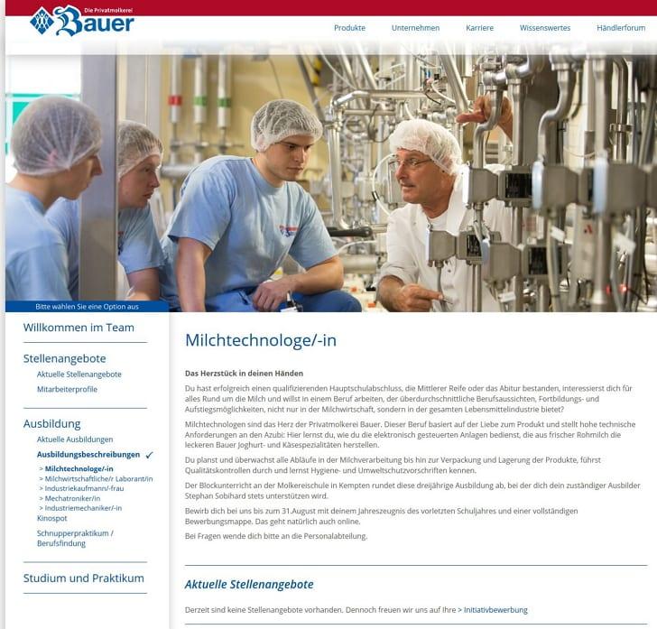 Ausbildung als Milchtechnologe - Karriere-Website Privatmolkerei Bauer