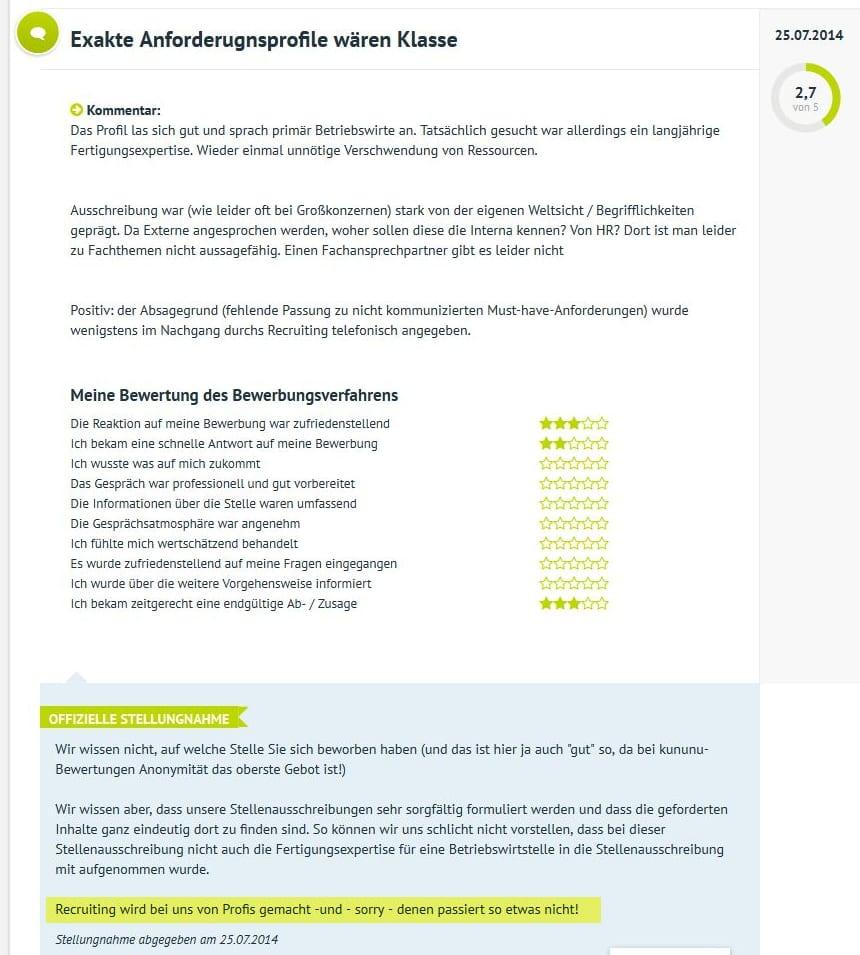 Recruiting wird bei uns von Profis gemacht - Arbeitgeber-Bewertungen auf kununu und Kommentare