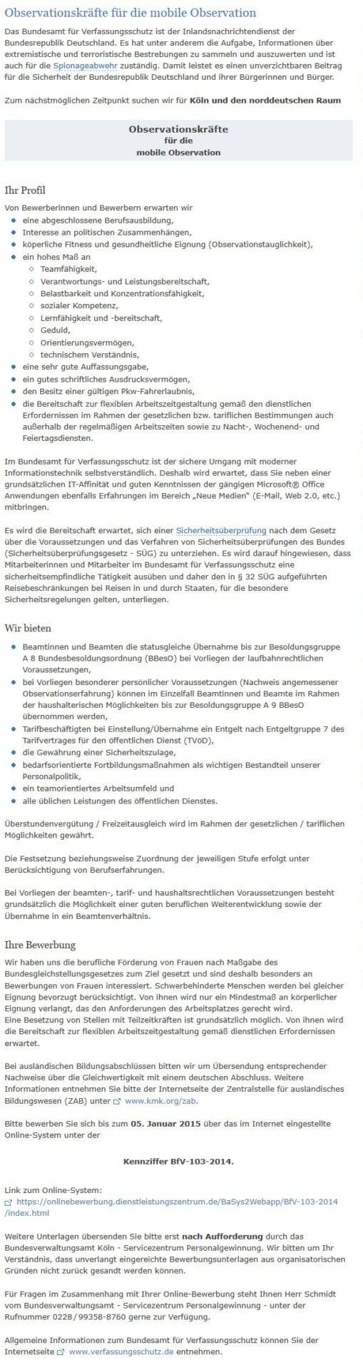 Stellenanzeige - Verfassungsschutz sucht Observationskräfte für die mobile Observation