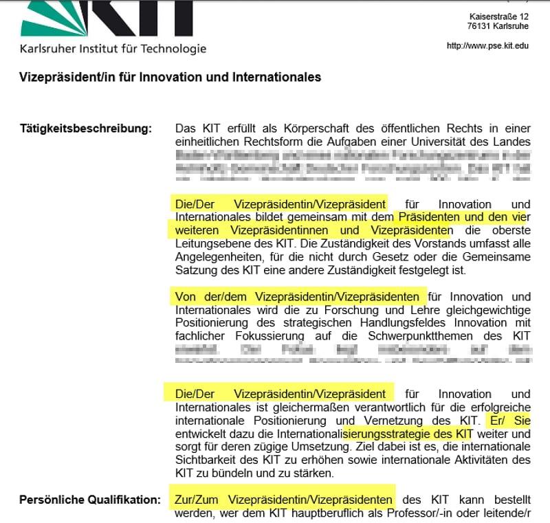 Gendergerechtes Stellenangebot Vizepräsident Innovation und Internationales - Quelle KIT