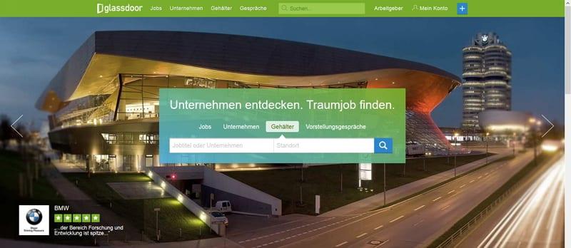 Glassdoor in Deutschland gestartet - Startseite Gehaltsvergleich