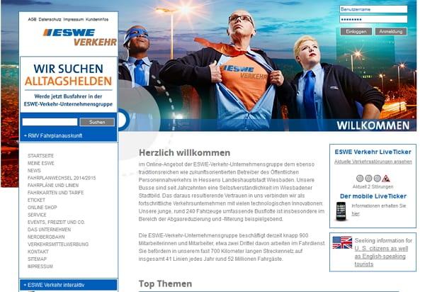 Homepage der ESWE-Verkehr mit Hinweis auf Alltagshelden-Kampagne