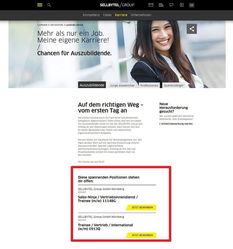 Infos für Azubis auf der Sellbytel-Karriere-Website eher Fehlanzeige