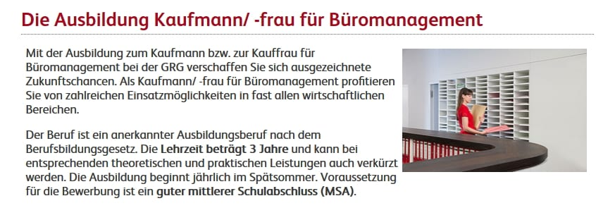 Ausbildung Kaufmann/Kauffrau für Büromanagement - Screenshot GRG