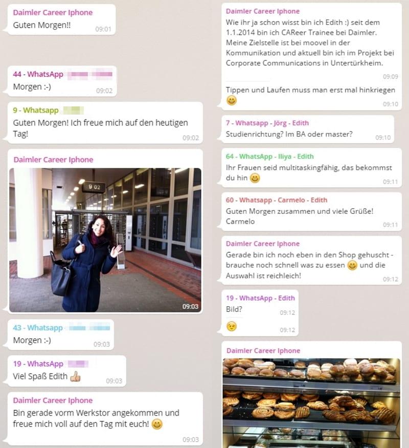 Daimler WhatsApp im Personalmarketing - Edith begrüßt die Teilnehmer des Chats