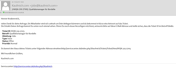 Bad Candidate Experience bei kaufmich