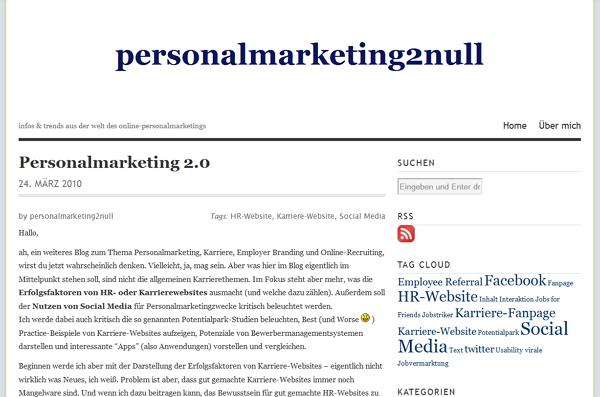 Erster Blogpost auf personalmarketing2null