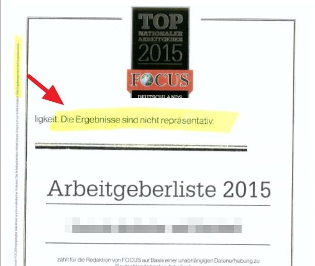 FOCUS TOP Arbeitgebersiegel - repräsentativ - oder doch nicht?