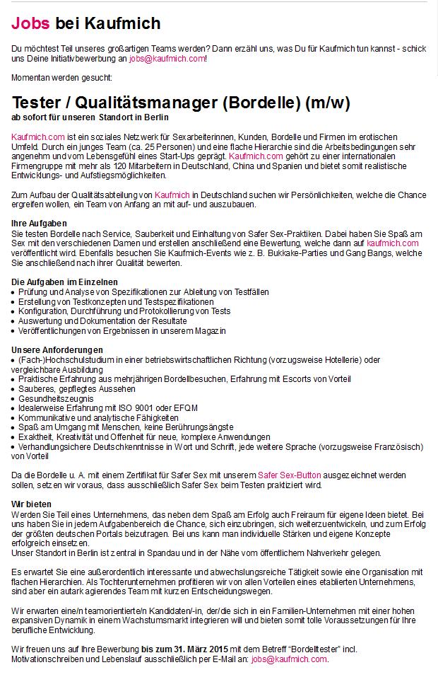 Job als Tester_Qualitätsmanager Bordelle bei kaufmich.com