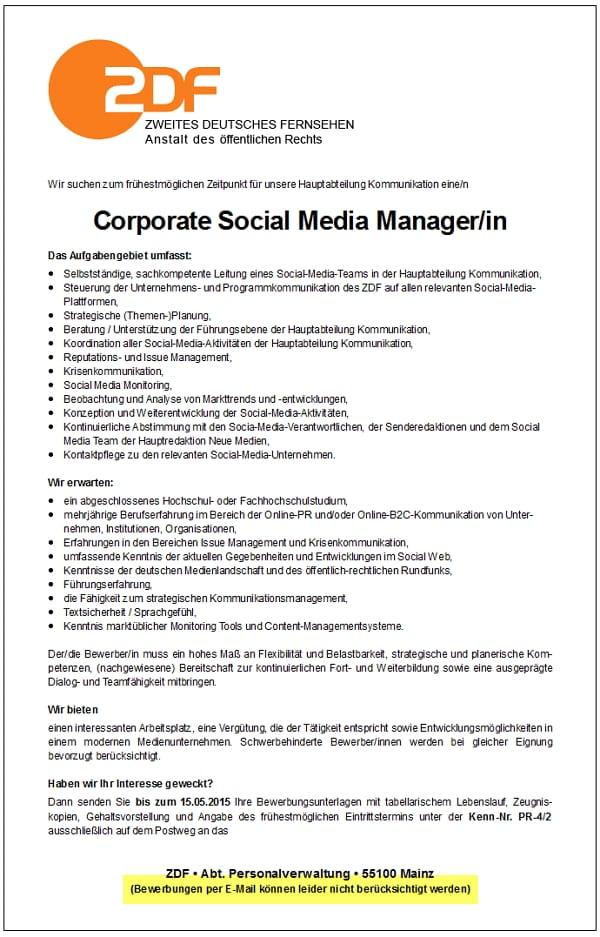 ZDF Stellenangebot Corporate Social Media Manager