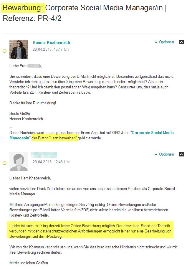 ZDF reagiert auf meine Anfrage zum Stellenangebot Corporate Social Media Manager