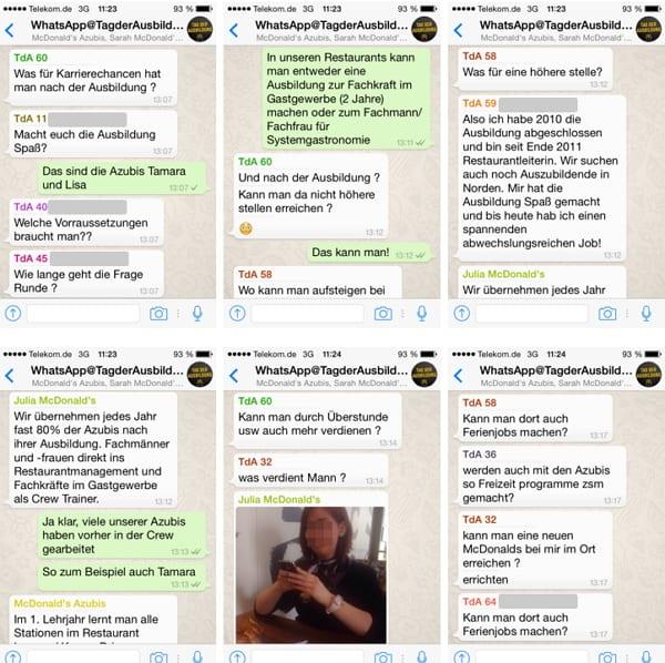 Whatsapp beim Tag der Ausbildung von McDonalds - Zukunft des Recruitings