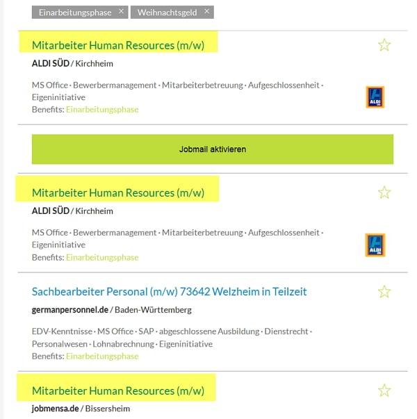 Stellenübersicht auf Jobbörse.com zeigt Redundanzen