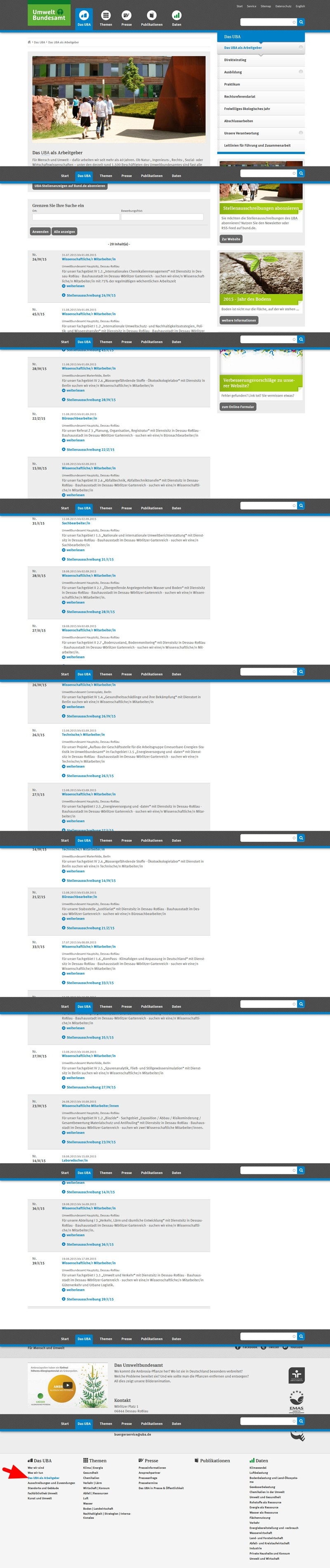 Die Karriere-Website des Bundesumweltamts