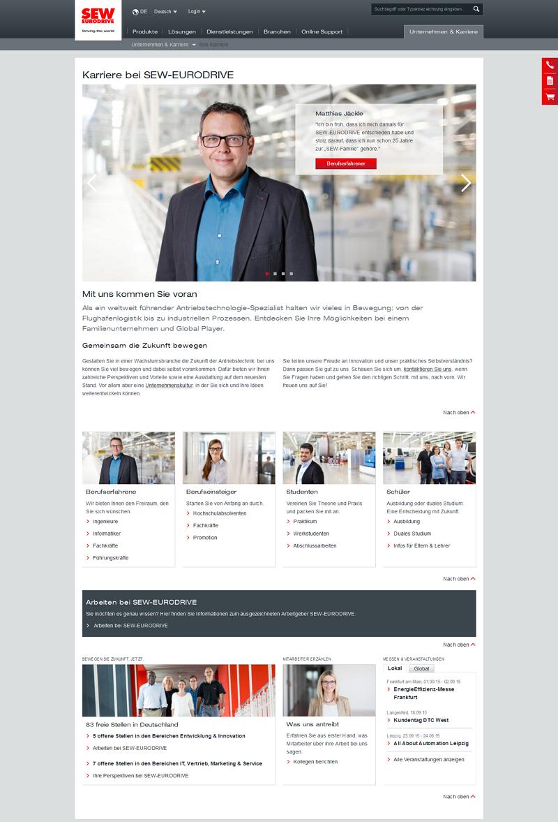 Die neue in den Corporate-Auftritt integrierte Karriere-Website von SEW-EURODRIVE