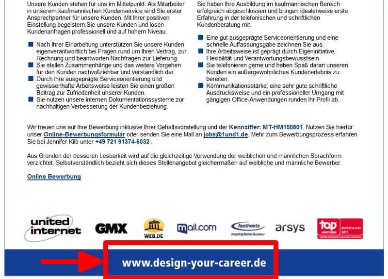 Hinweis auf Karriere-Website in 1und1-Stellenanzeige