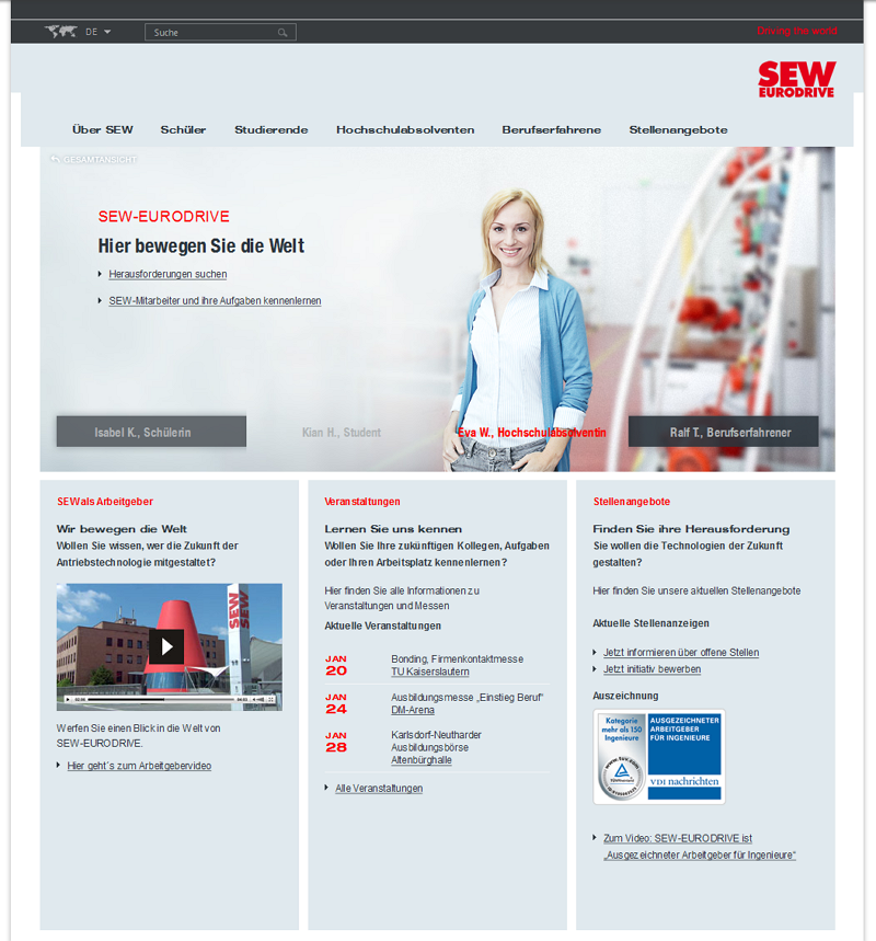 Karriere-Website SEW-EURODRIVE vor dem Relaunch