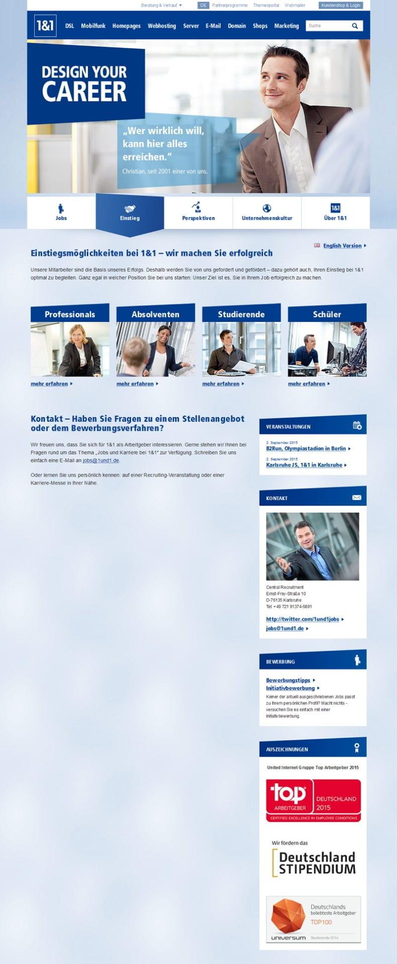 Karriere-Website von 1und1 - ein Hinweis auf die dringend gesuchten IT-Software-Entwickler fehlt vollständig