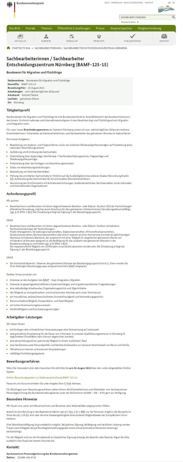 Sachbearbeiter Entscheidungszentrum Nürnberg - Website bva