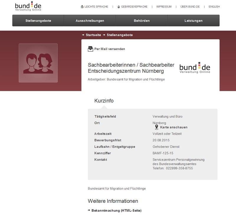 Sachbearbeiter Entscheidungszentrum Nürnberg