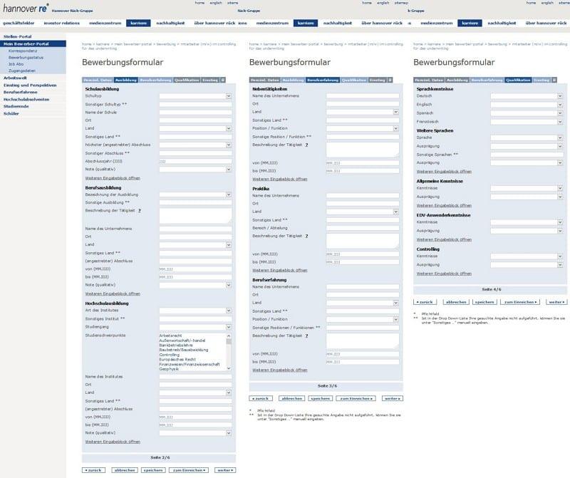 Hier macht die Bewerbung richtig Spaß - sechs Seiten Online-Formular