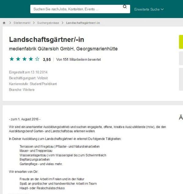 Landschaftsgärtner bei der Medienfabrik in Gütersloh oder je nach dem in Georgsmarienhütte