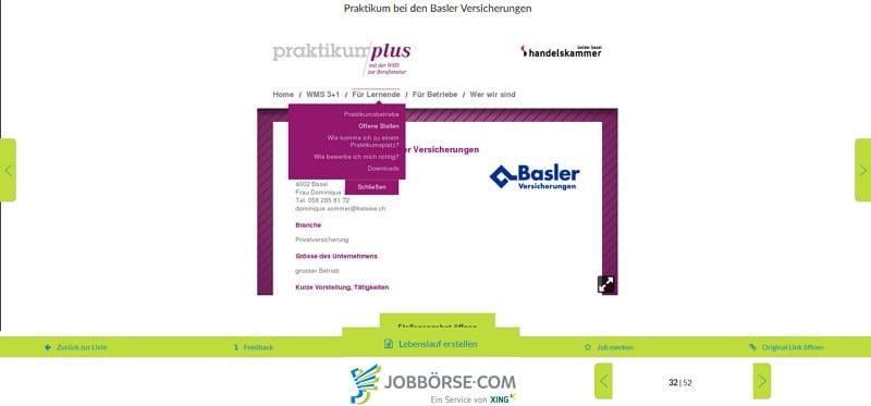 Stellenanzeige als Screenshot auf Jobbörse.com