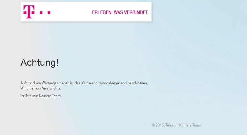 Wegen Wartungsarbeiten ist das Karriereportal der Telekom geschlossen