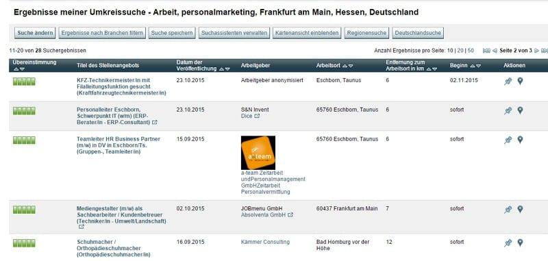 Eine Suche nach Personalmarketing-Stellen in Frankfurt liefert u. a. diese Ergebnisse
