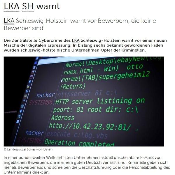 Internetbetrug via Online-Bewerbung - Das LKA Schleswig Holstein warnt