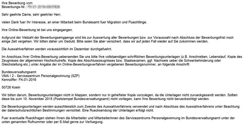 Bewerbung Beim Bundesamt Fuer Migration Und Fluechtlinge