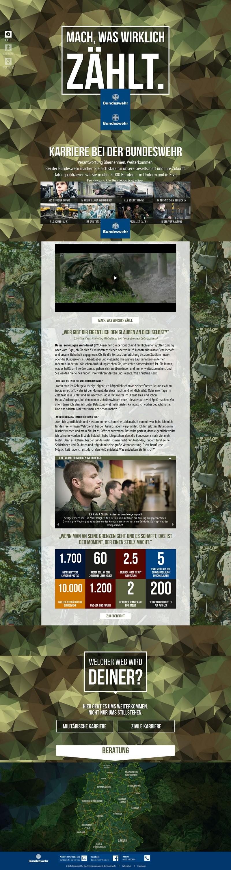 Mach was wirklich zählt - die Microsite der Bundeswehr