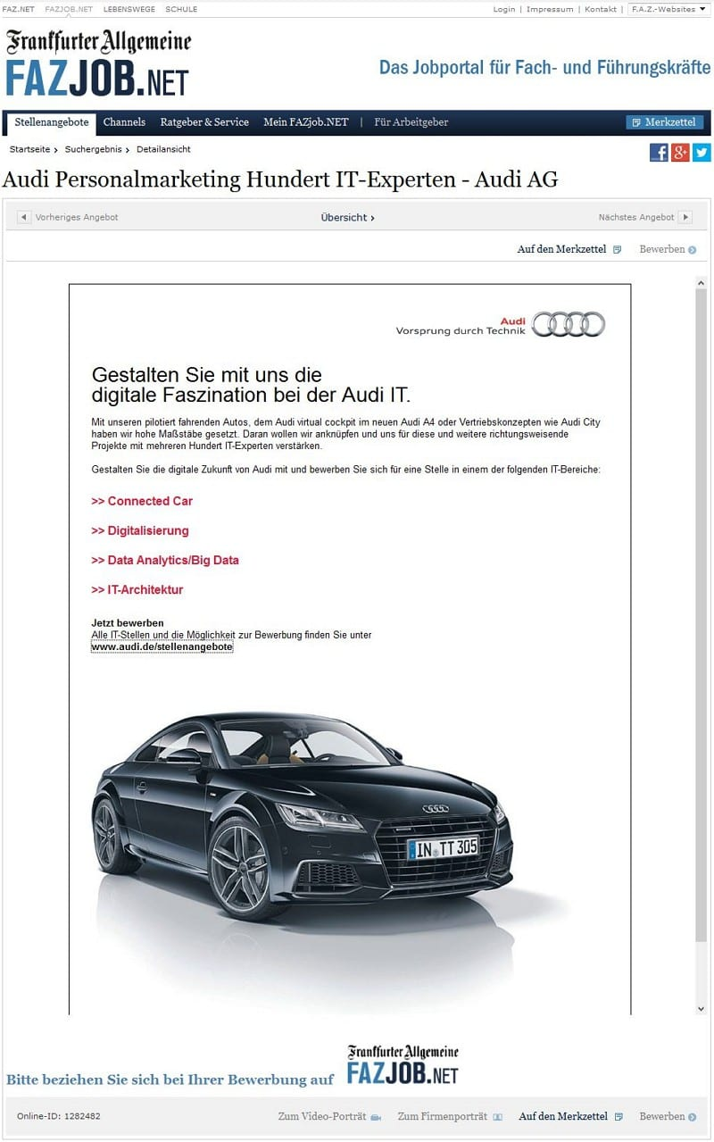 Audi Personalmarketing - 100 IT Experten
