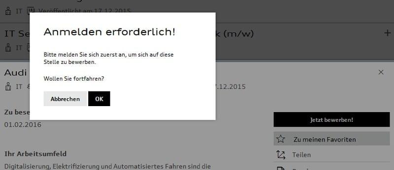 Bewerben bei Audi - nur mit Anmeldung