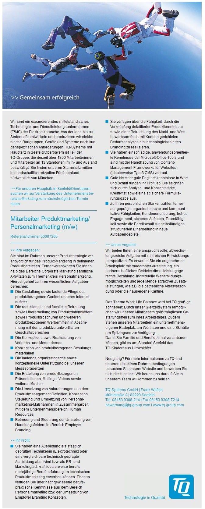 Stellenanzeige: Mitarbeiter Produktmarketing oder Personalmarketing oder beides