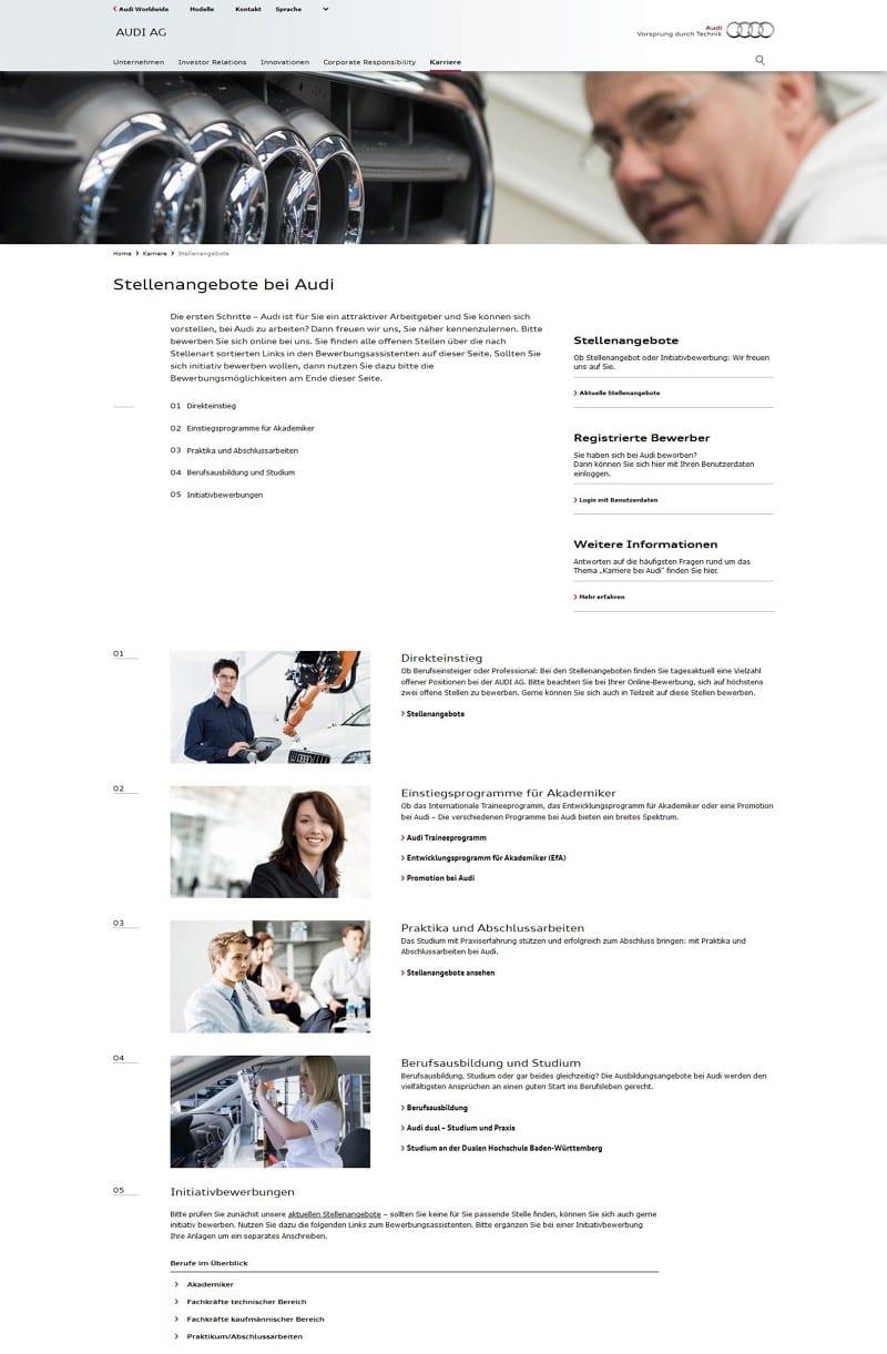 Stellenangebote bei Audi ohne Stellenangebote