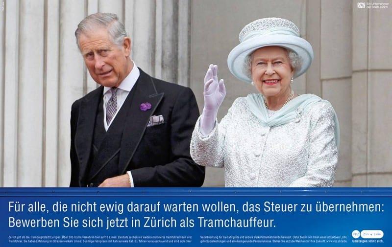 Frechmutige Personalwerbung mit Queen Mum und Prince Charles bei den VBZ