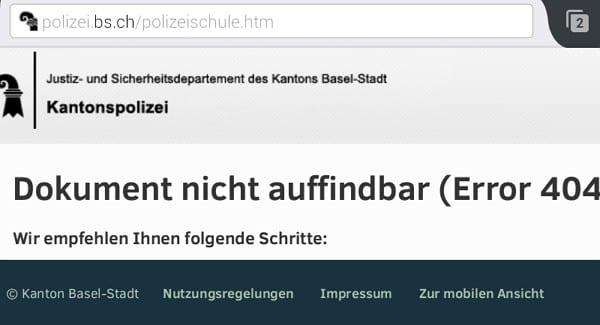 Polizist in Basel werden klappt leider nicht