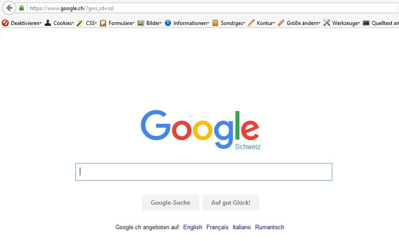 Weiterleitung auf Google.ch