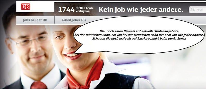 Personalmarketing Deutsche Bahn setzt auf Durchsagen - Quelle Screenshot Deutsche Bahn